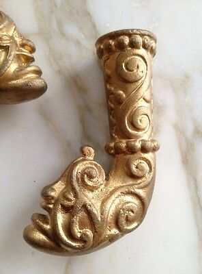 Victorian Rare Brass Furniture Ornate Art Deco Monster / Devil Face Brass Feet 3