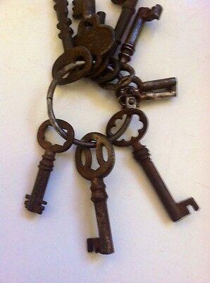 10 Antique Castiron Skeleton Keys,Owl,mini,& Keyring LOOK! 3
