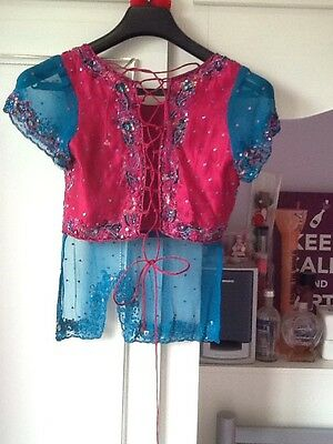 Brand New Indian Pakistani Stunning Turquoise & Pink Lengha Outfit Bollywood 9