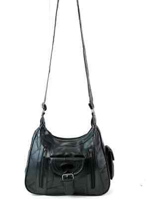 Real Leather Handbag Cross Body Long Shoulder Strap Women Black Travel Work 4
