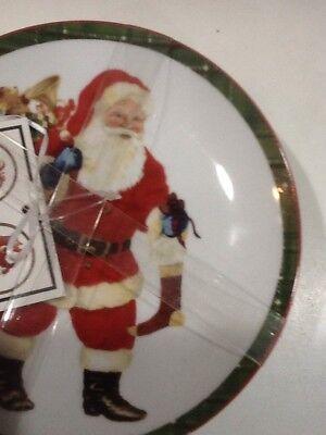 222Fifth Hello Santa Christmas Plaid Winter New 4 Appetizer  Dessert Plates 3