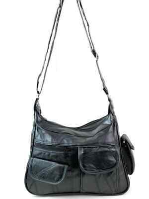 Real Leather Handbag Cross Body Long Shoulder Strap Women Black Travel Work 6
