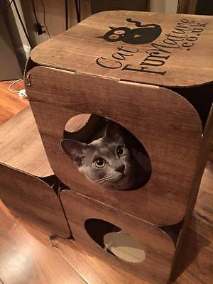 Cardboard Cat House \ Bed Toy Scratcher Wood Effect Cube 8