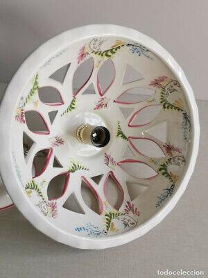 Lampara Vitage , De Ceràmica Con Bonitos Dibujos Florales Hechos A Mano Y 30 Cm 7