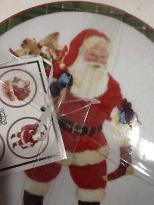 222Fifth Hello Santa Christmas Plaid Winter New 4 Appetizer  Dessert Plates 2