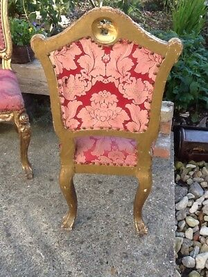 Antique Pair Of French Louis Dining Chairs Faded Elegance Original Need Work. 6