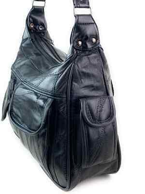 Real Leather Handbag Cross Body Long Shoulder Strap Women Black Travel Work 12