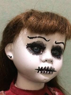 artist signed creepy bisque doll 2