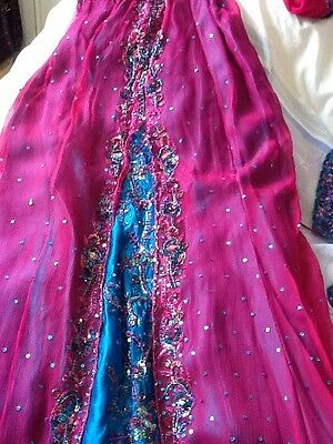 Brand New Indian Pakistani Stunning Turquoise & Pink Lengha Outfit Bollywood 5