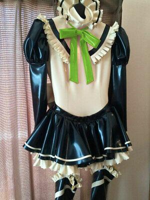 100% Latex Rubber Maid Kleid Reißverschluss Rüschen Uniform Strumpfband Rock 4