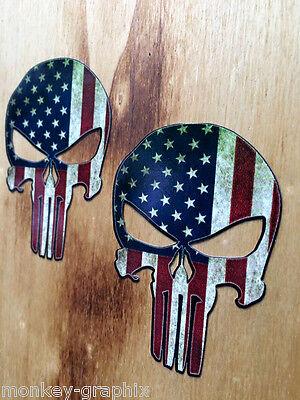 2x Punisher USA Oldschool Aufkleber Sticker Vintage Retro US Cars V8 Bikes