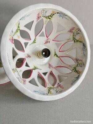 Lampara Vitage , De Ceràmica Con Bonitos Dibujos Florales Hechos A Mano Y 30 Cm 12