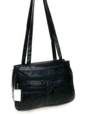 Real Leather Handbag Cross Body Long Shoulder Strap Women Black Travel Work 2