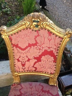 Antique Pair Of French Louis Dining Chairs Faded Elegance Original Need Work. 4