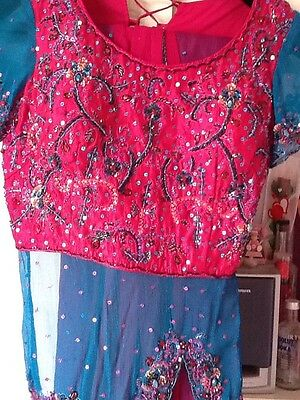 Brand New Indian Pakistani Stunning Turquoise & Pink Lengha Outfit Bollywood 2