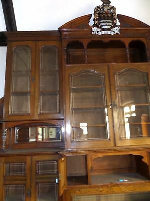 Monumental Regal Solid Oak Library Bookcase With Beautiful Carved Crest 9