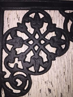 SET OF 2 VICTORIAN FLORAL PATTERN BRACKETS Antique Styled cast iron braces BLACK 3