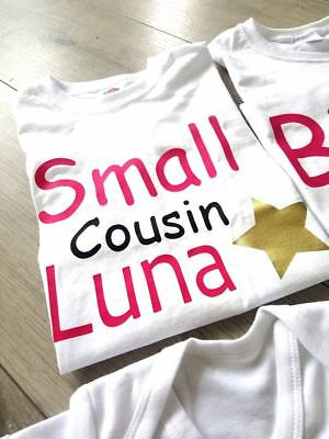 personalised cousin family name t-shirts big little tiny babygrow tops middle 3
