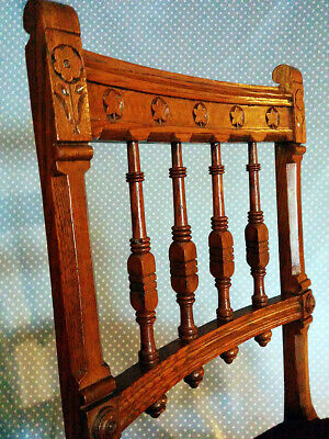 Antique carved-back spindle chair with petit-point seat 2