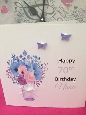 Handmade Personalised Birthday Card Mum Grandma Nana 40th 50th 60th