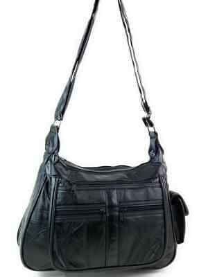 Real Leather Handbag Cross Body Long Shoulder Strap Women Black Travel Work 9