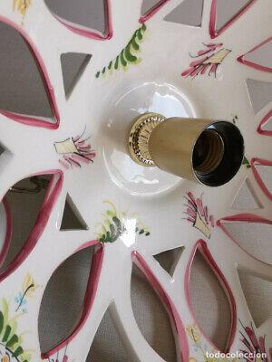 Lampara Vitage , De Ceràmica Con Bonitos Dibujos Florales Hechos A Mano Y 30 Cm 6
