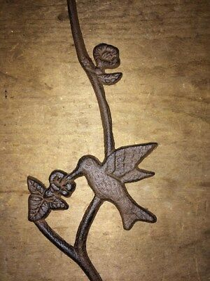 "Hummingbird Plant S Hook, antique brown cast iron 17.5"" flower pot basket hanger 2"