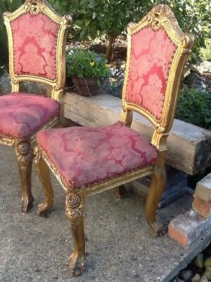 Antique Pair Of French Louis Dining Chairs Faded Elegance Original Need Work. 12
