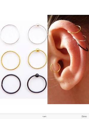 Surgical Steel Ring Hoop Ball Septum Nose Lip Ear Tragus Helix Piercing Daith 7