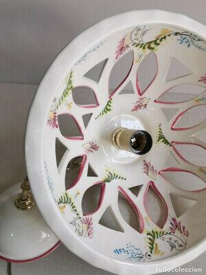 Lampara Vitage , De Ceràmica Con Bonitos Dibujos Florales Hechos A Mano Y 30 Cm 10
