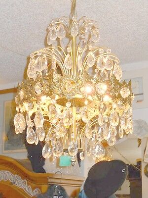 Antique European Coronal Brass and Crystal 6 Bulb Chandelier w/ 2 Types Prisms 3