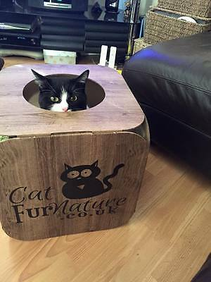 Cardboard Cat House \ Bed Toy Scratcher Wood Effect Cube 2