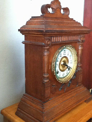 Ansonia*Superb*Antique*Mahogany Oak 8day chimes Clock  with pull repeat function