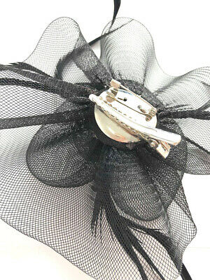 Black Feather Flower Beak Clip Fascinator Weddings Races Ladies Day 3
