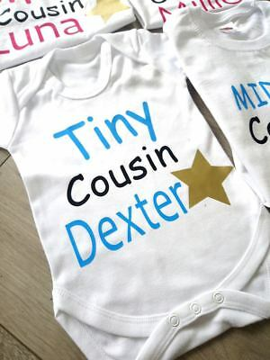 personalised cousin family name t-shirts big little tiny babygrow tops middle 5