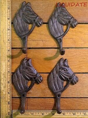 4 Horse HOOKS Coat Hat Wall Western Barn Tack RUSTIC cast iron Antique style