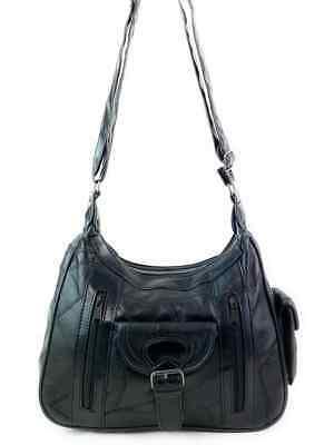 Real Leather Handbag Cross Body Long Shoulder Strap Women Black Travel Work 5