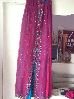 Brand New Indian Pakistani Stunning Turquoise & Pink Lengha Outfit Bollywood 6