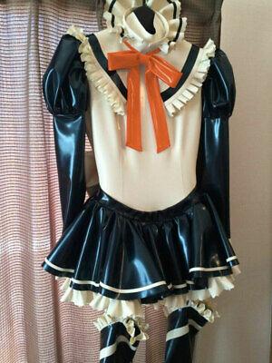 100% Latex Rubber Maid Kleid Reißverschluss Rüschen Uniform Strumpfband Rock 8