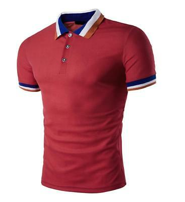 New Men's Slim Fit POLO Shirts Solid Short Sleeve Casual Golf T-shirt Tee Tops 10