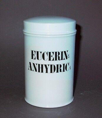 "14,5cm hohes Porzellan Apothekergefäß Aufschrift ""EUCERIN ANHYDRIC"" Tadellos 2"