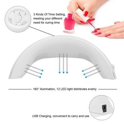 36W LED UV Nail Polish Dryer Lamp Gel Acrylic Curing Light Spa Professional Kit 6