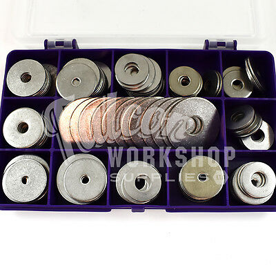 75 ASSORTED PIECE A2 STAINLESS STEEL PENNY REPAIR WASHERS KIT M4 M5 M6 M8 M10