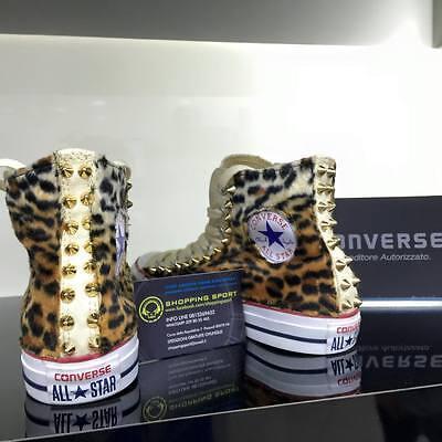 CONVERSE BEIGE ALTE Personalizzate Leopard Leopardate con Borchie ...