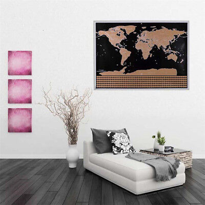 Travel World Map Scratch Off Word With Flags Wall Stickers Home Decoration Gift 4