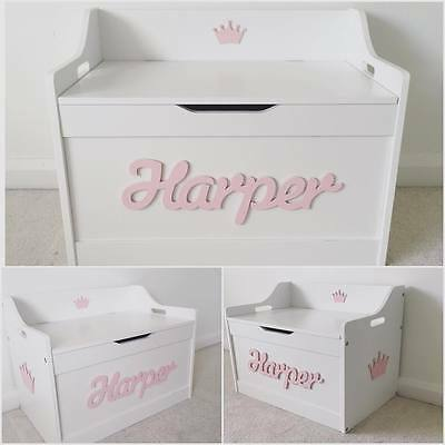 4 Of 8 S Boys Wooden Personalised Children Toy Box Storage Chest Nursery