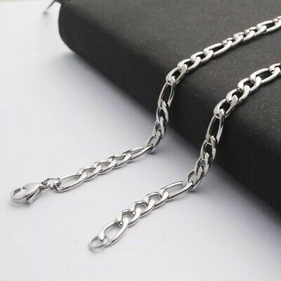 Wholesale 316L Stainless Steel Silver Curb Figaro Chain Necklace Mens & Womens 3