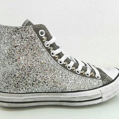 CONVERSE ALL STAR Alte Grigio glitter Argento Personalizzate - EUR ...