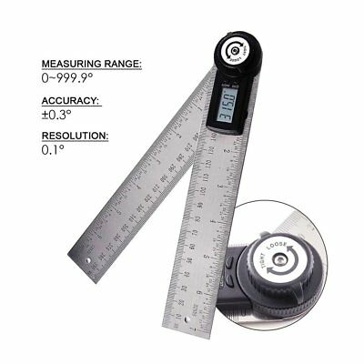 2-in-1 Digital Angle Finder Meter Protractor Stainless Steel 360° Ruler 400mm 10
