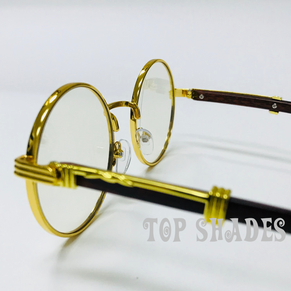 49a360336e13 Vintage Wood Buffs Migos Design Eye glasses Round Gold Frame Clear Lens  Glasses 5 5 of 6 See More